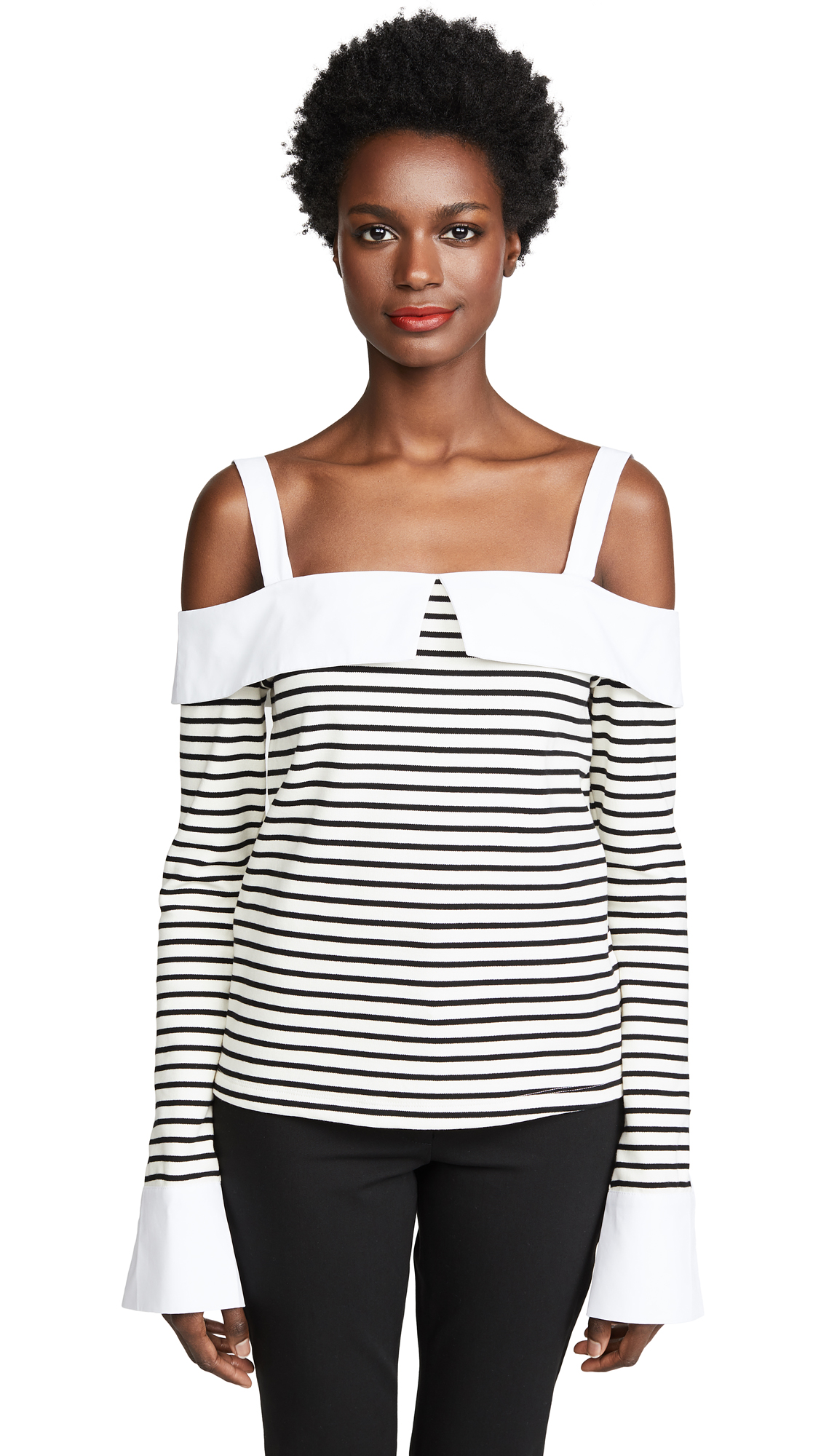 ENGLISH FACTORY Long Sleeve Off Shoulder Top - Black/White
