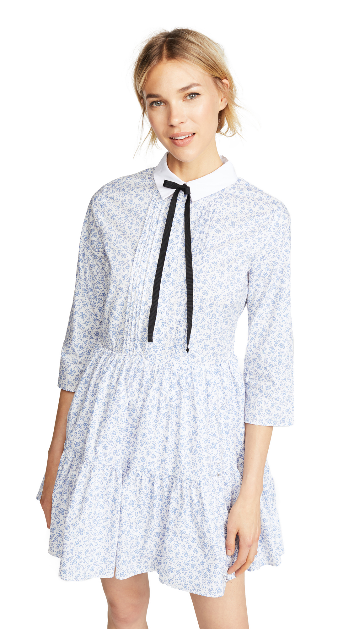 ENGLISH FACTORY Long Sleeve Pleated Dress