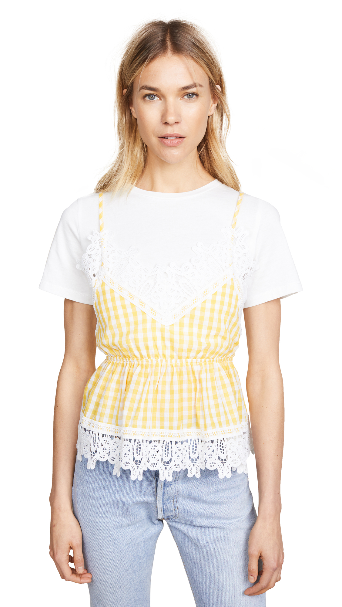 ENGLISH FACTORY T-Shirt with Combo Top - White/Dandelion