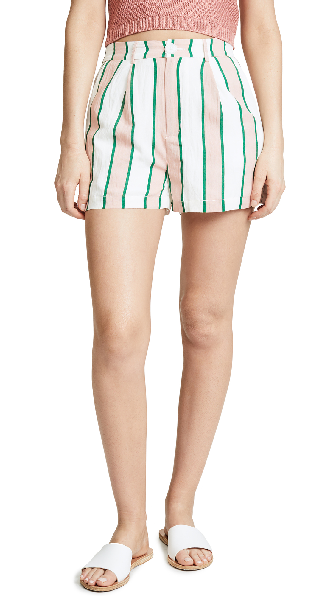 ENGLISH FACTORY Pleated Shorts - Pink/Emerald