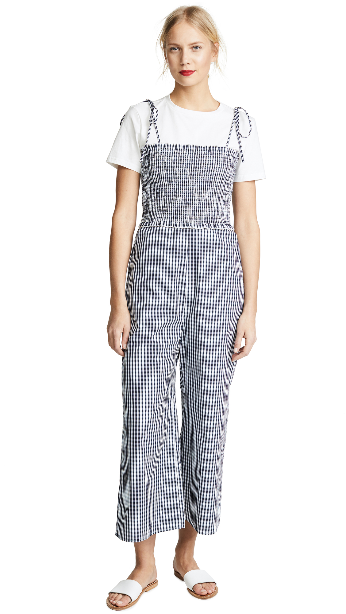 ENGLISH FACTORY Sleeveless Smocked Jumpsuit In Oxford Blue