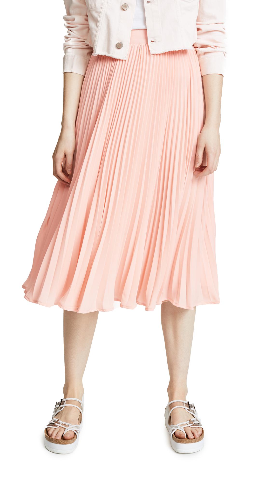 ENGLISH FACTORY Long Pleated Skirt - Khaki Rose