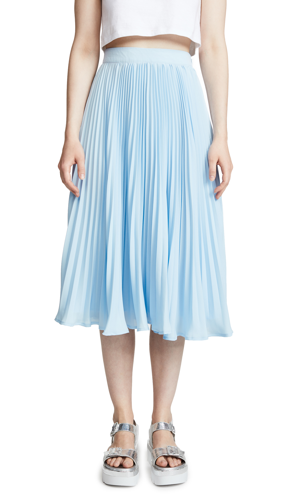 ENGLISH FACTORY Long Pleated Skirt In Dusty Blue
