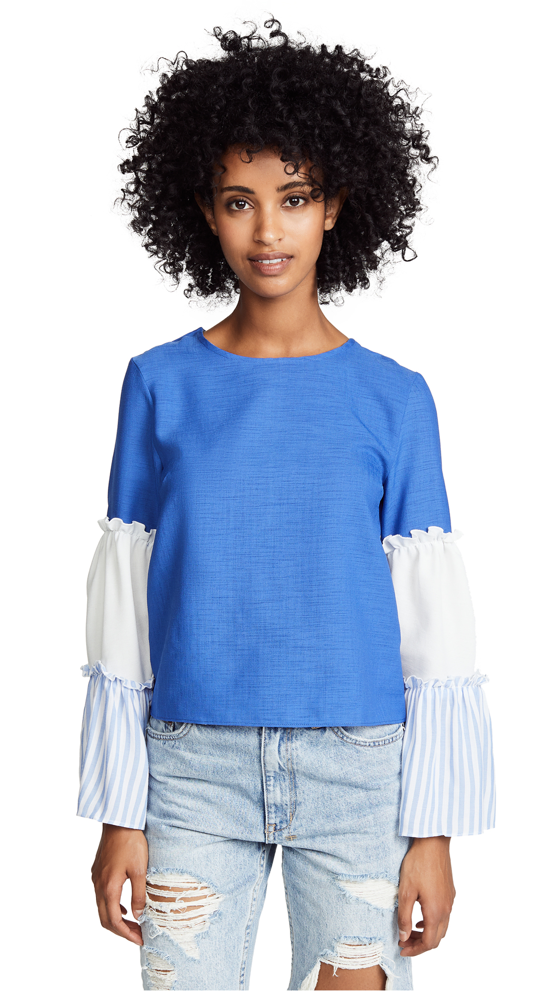 ENGLISH FACTORY Long Sleeve Ruffled Top in Marina Blue