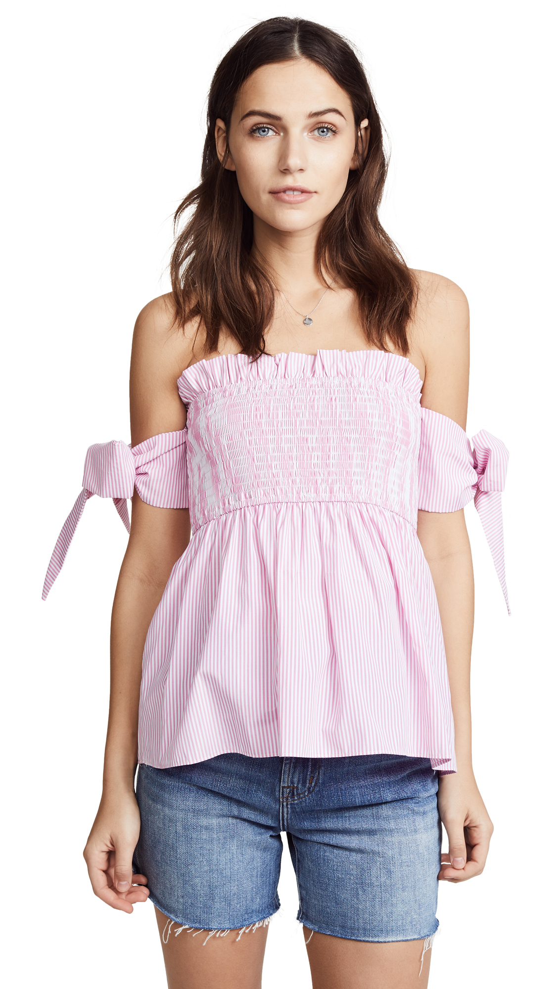 ENGLISH FACTORY Off Shoulder Top with Smocking - Carnation Pink