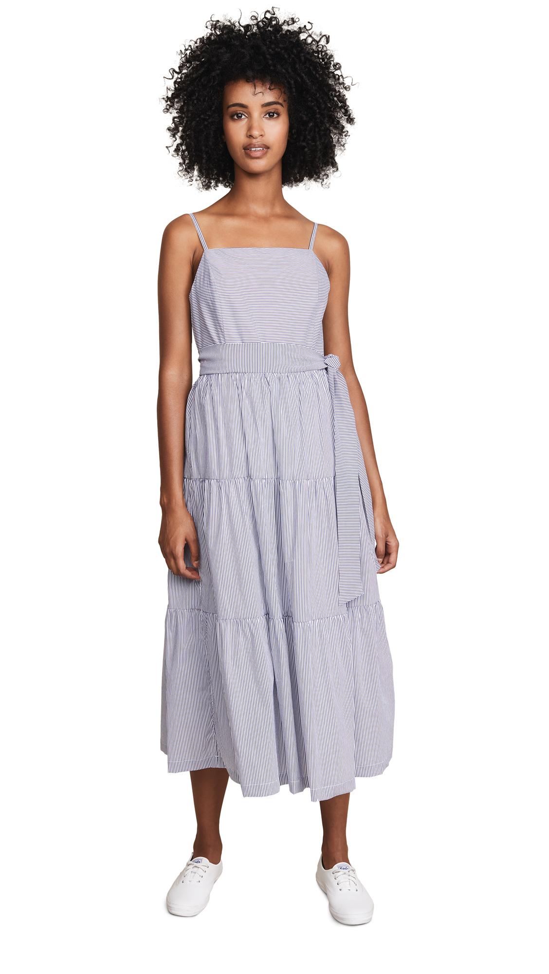 ENGLISH FACTORY Shirred Midi Dress with Ribbon - Night Sky
