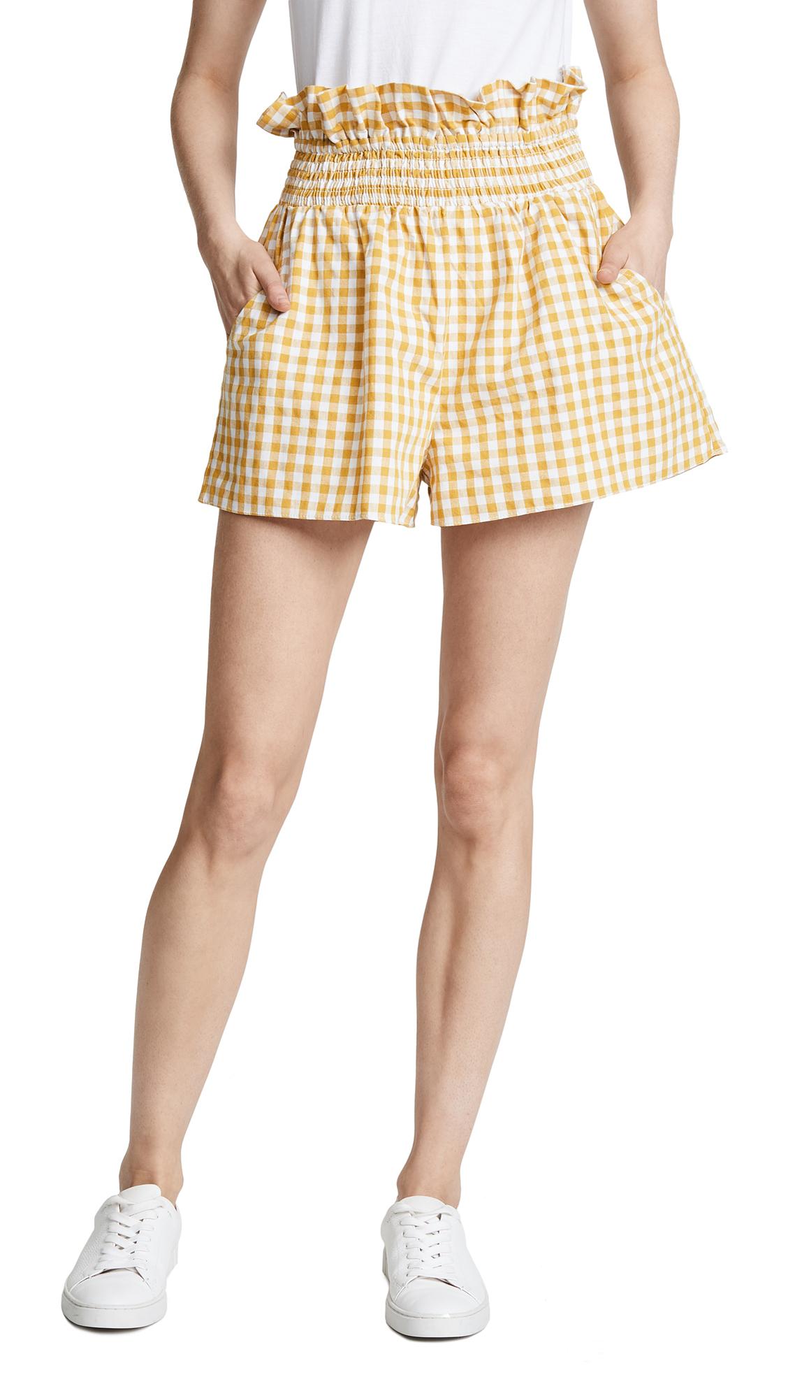 ENGLISH FACTORY Ruffled Gingham Shorts - Lemon
