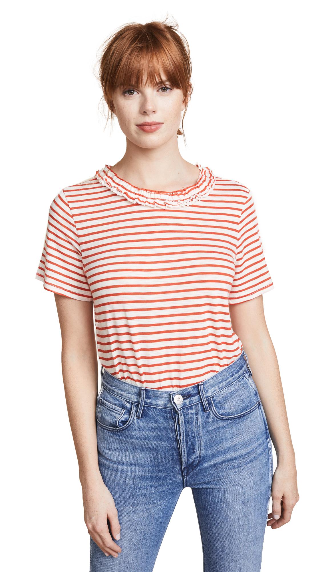 ENGLISH FACTORY Ruffle Neck T-Shirt - Red