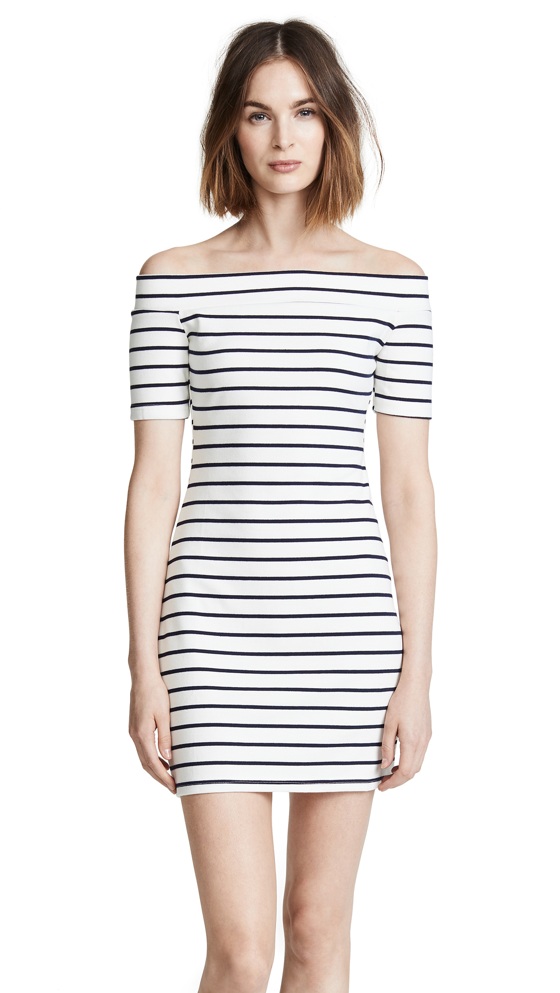 ENGLISH FACTORY Off Shoulder Stripe Dress In White