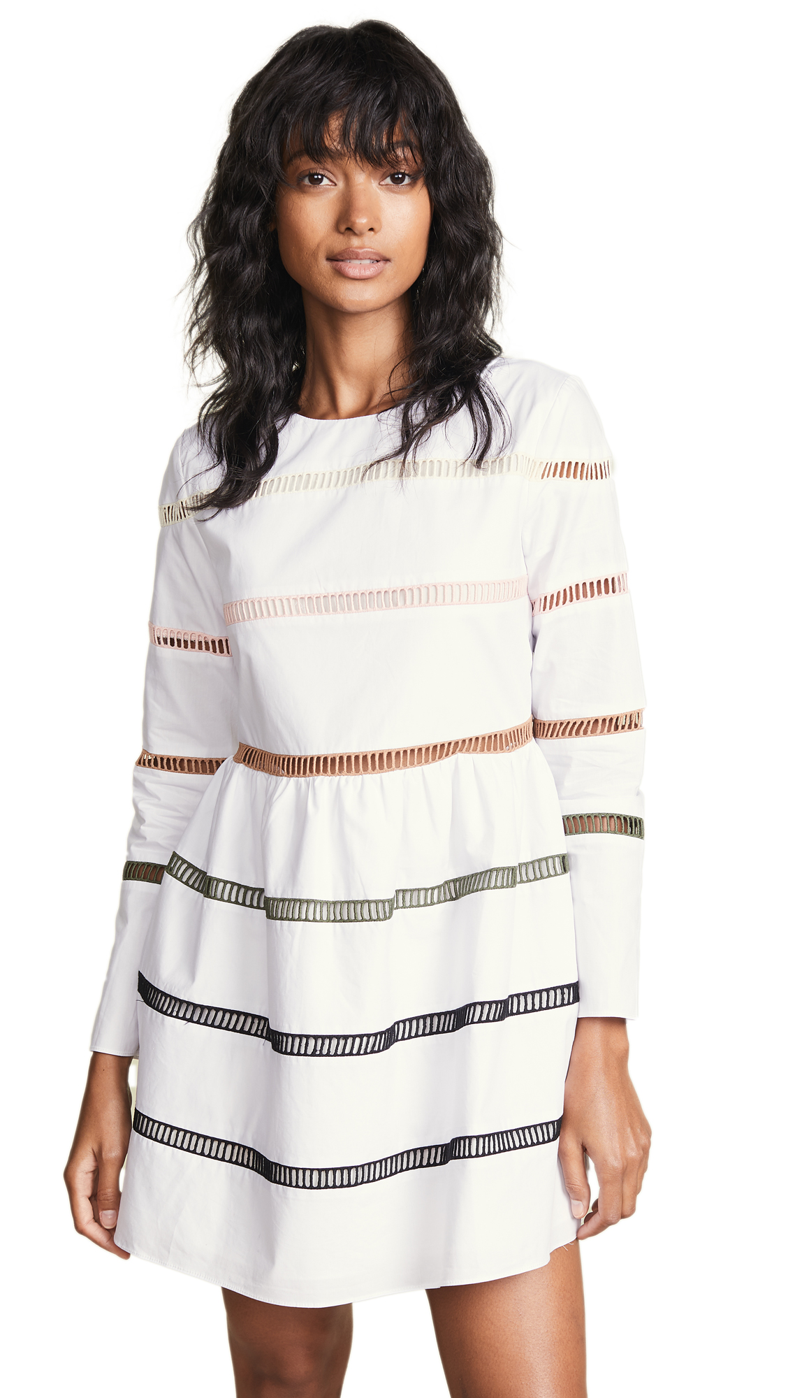 ENGLISH FACTORY A-Line Striped Dress In White