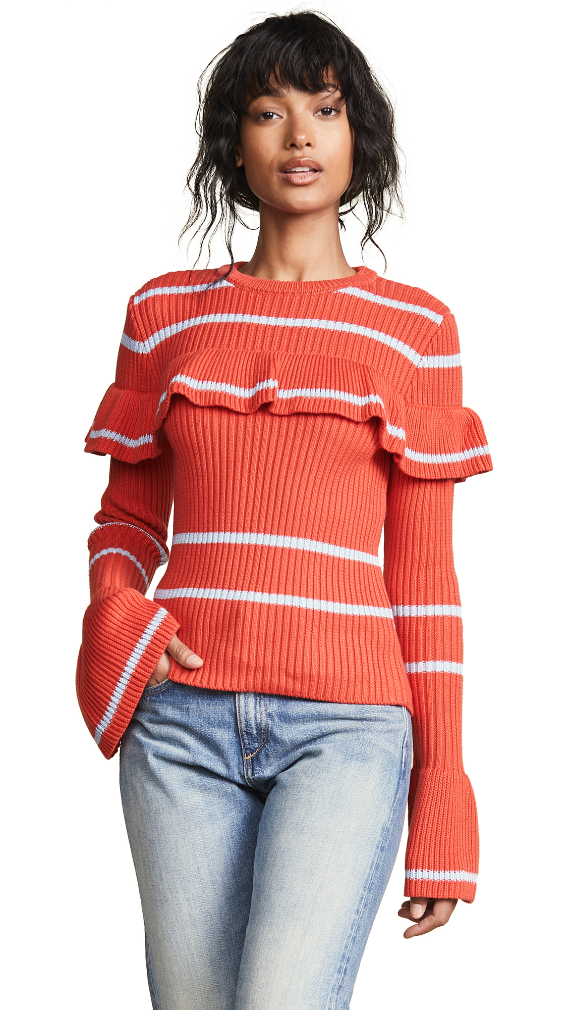 ENGLISH FACTORY Ruffled Knit Top in Vermillion