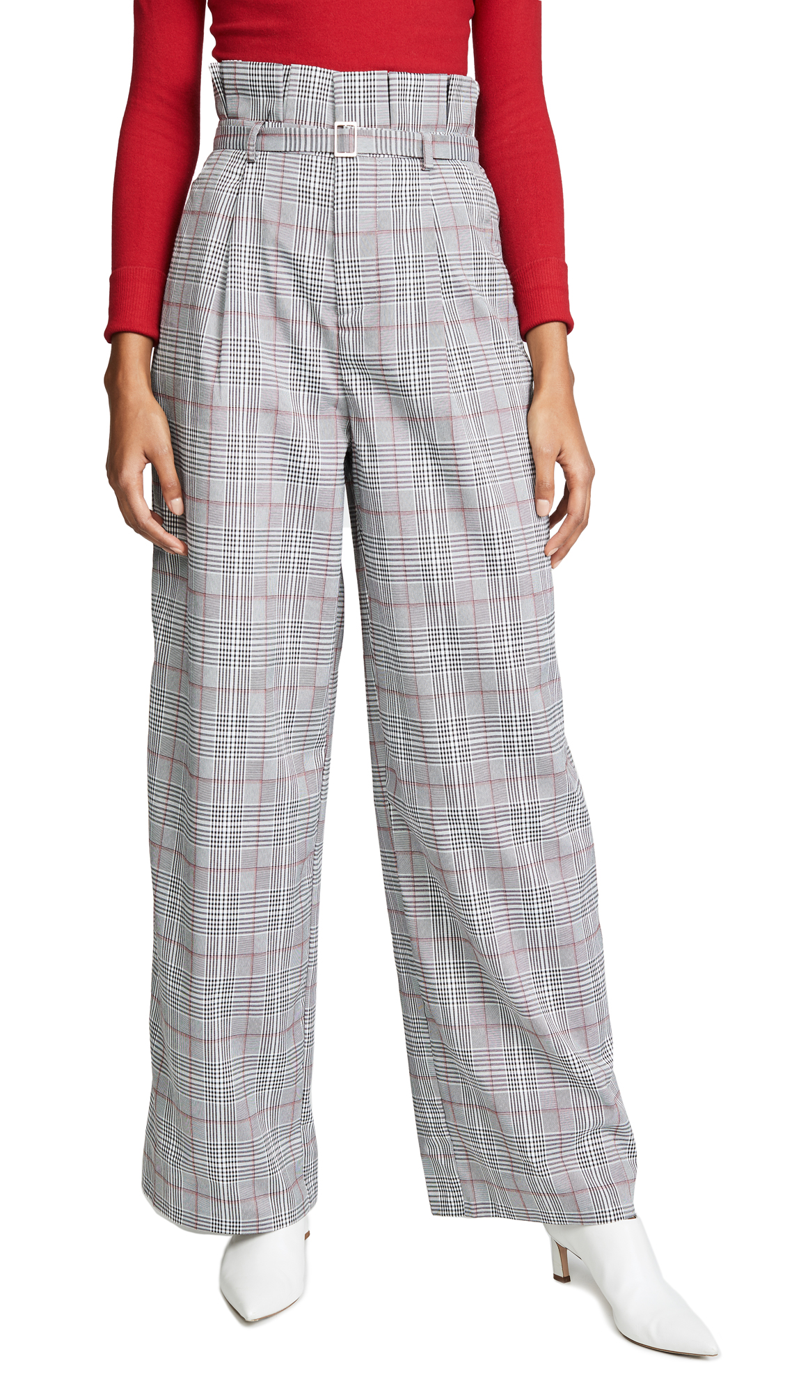 ENGLISH FACTORY High Waist Plaid Pants in Candy Pink Plaid