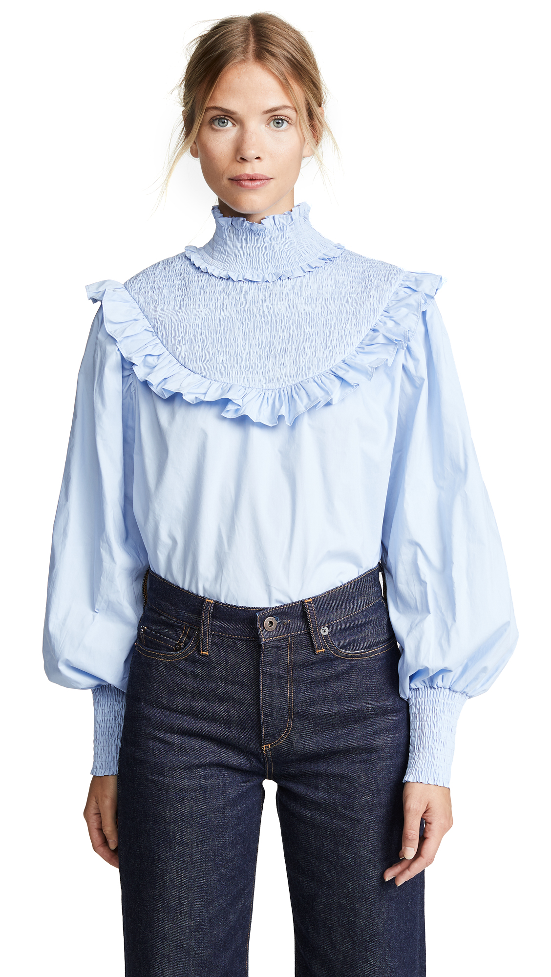 ENGLISH FACTORY Smocked Top in Blue