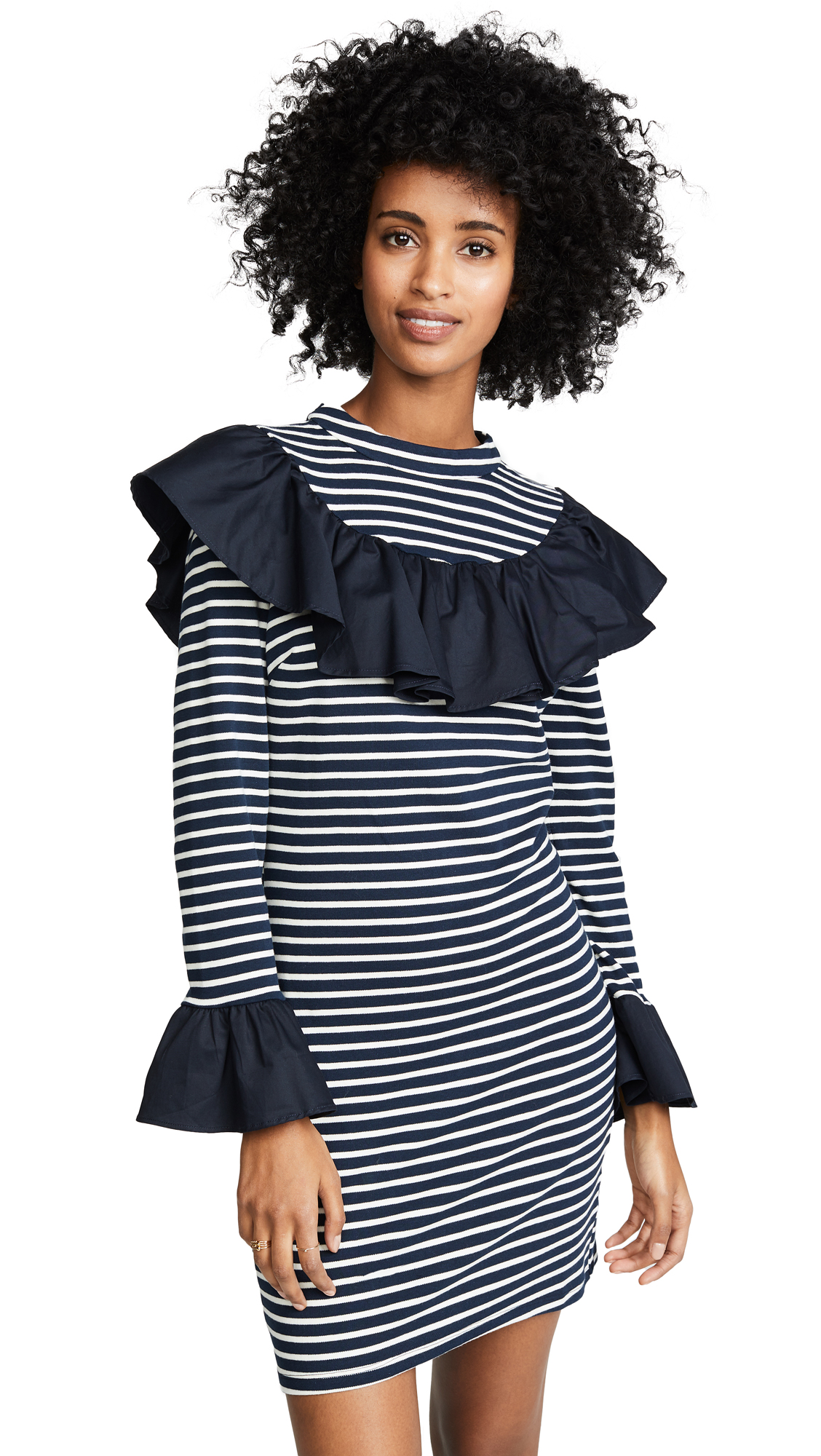ENGLISH FACTORY Contrast Ruffle Dress in Twilight
