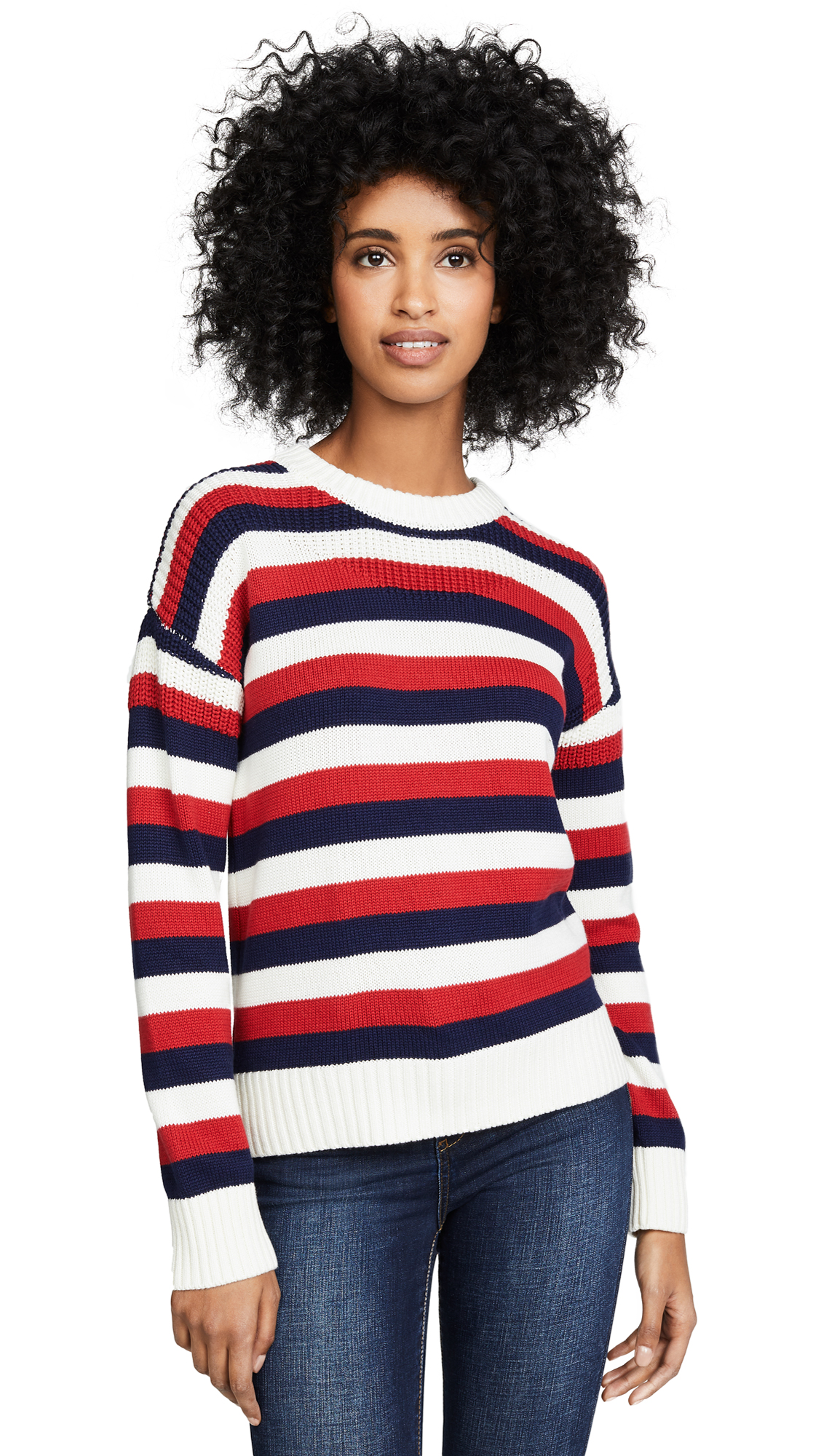 ENGLISH FACTORY Stripe Sweater in White