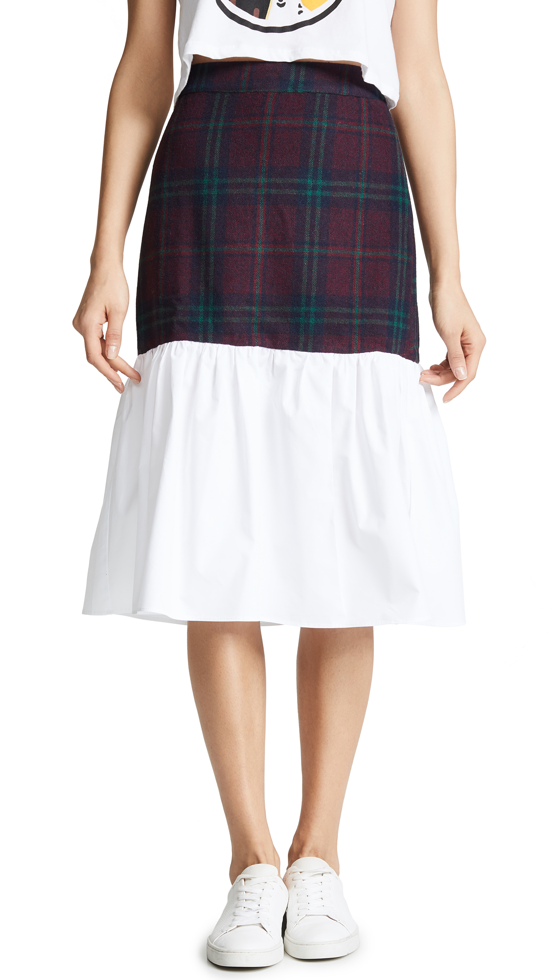 ENGLISH FACTORY Tartan Combo Skirt in Carbon Blue