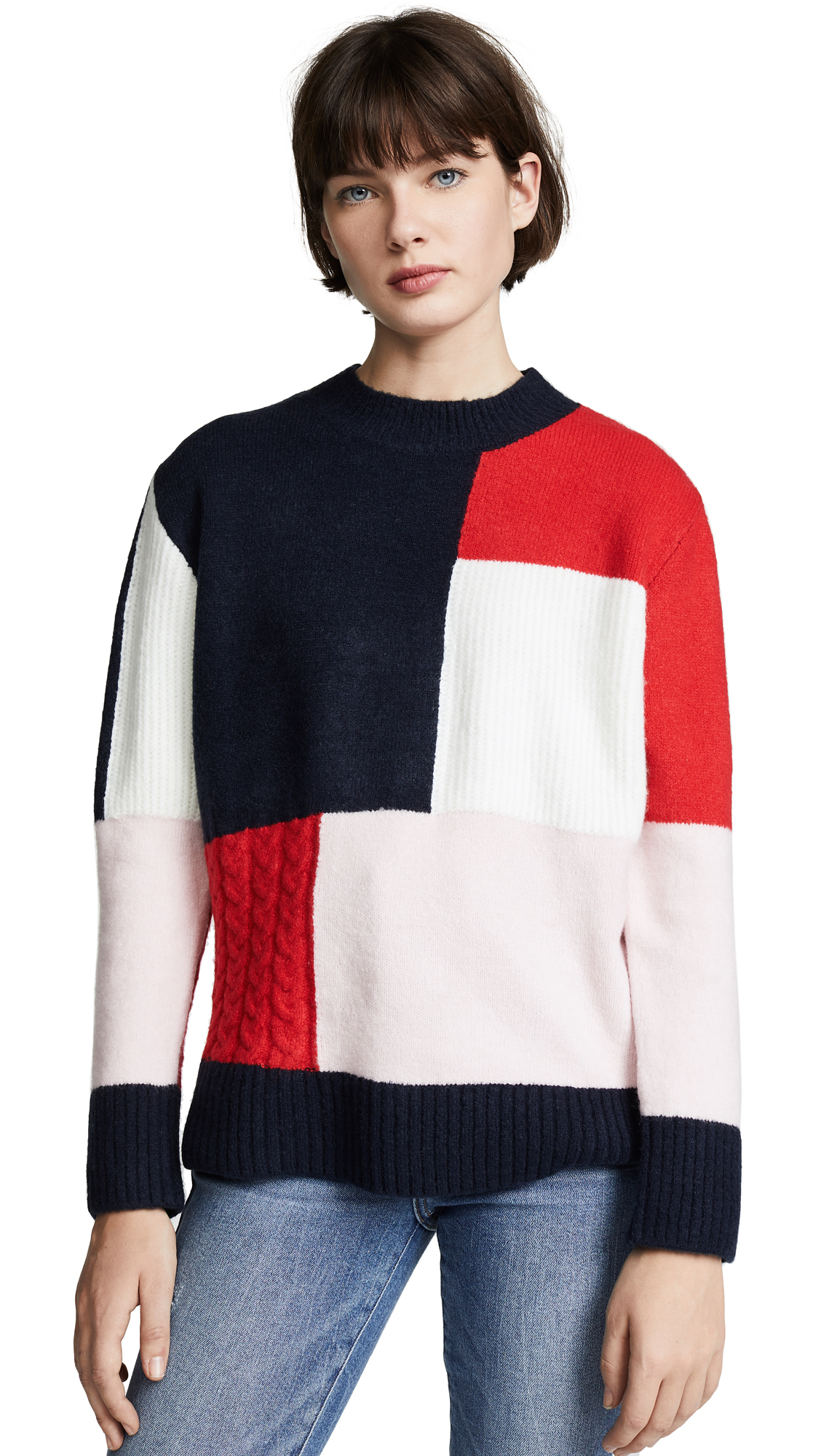 Patchwork Knit Sweater in Carbon Blue