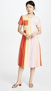 ENGLISH FACTORY 拼色中长连衣裙