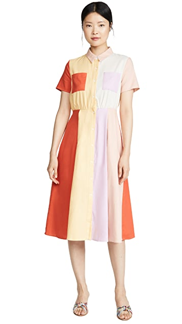 ENGLISH FACTORY Colorblock Midi Dress