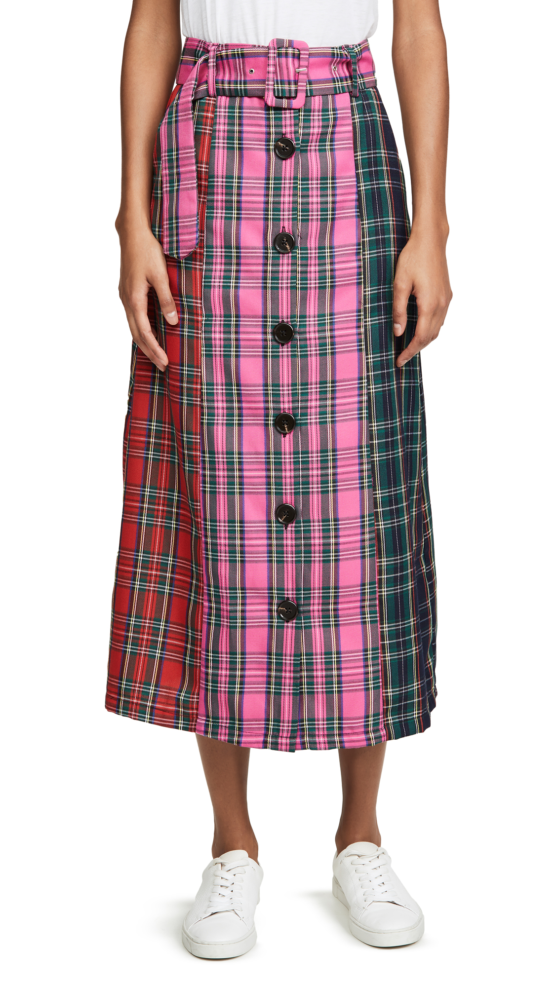 Buy ENGLISH FACTORY online - photo of ENGLISH FACTORY Colorblock Tartan Skirt