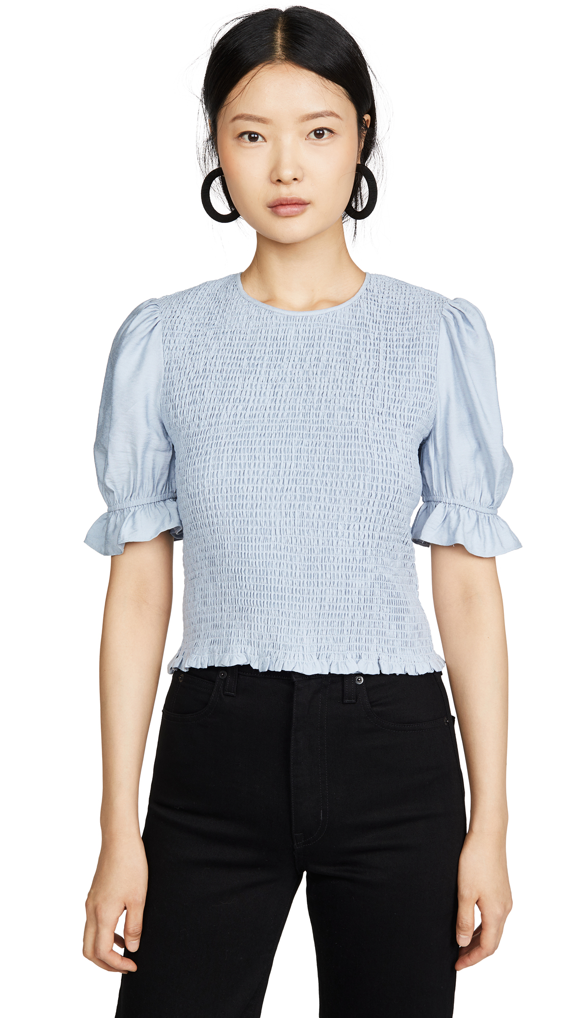 ENGLISH FACTORY Smocked Puff Sleeve Top - 30% Off Sale