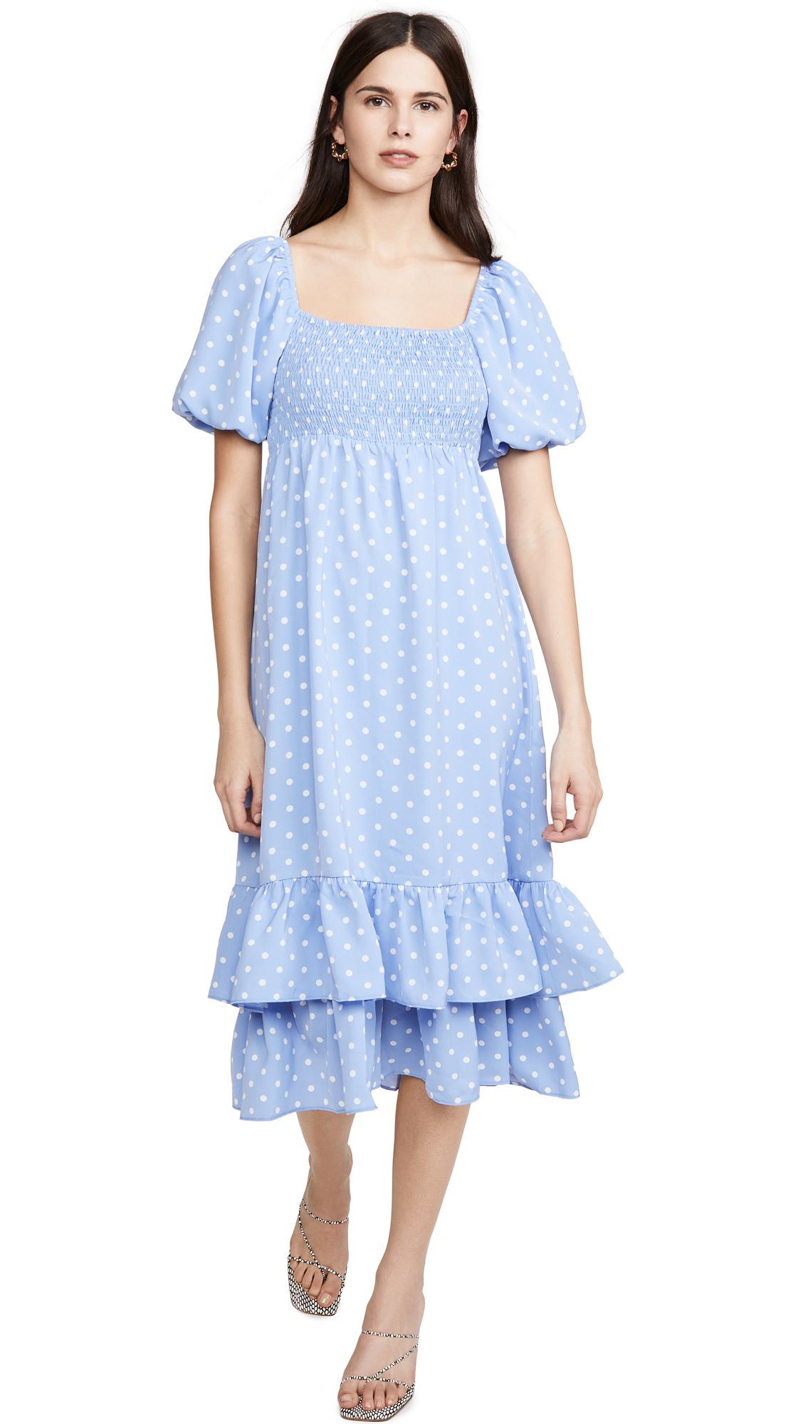 Buy ENGLISH FACTORY Dot Pattern Long Dress online beautiful ENGLISH FACTORY Clothing, Dresses