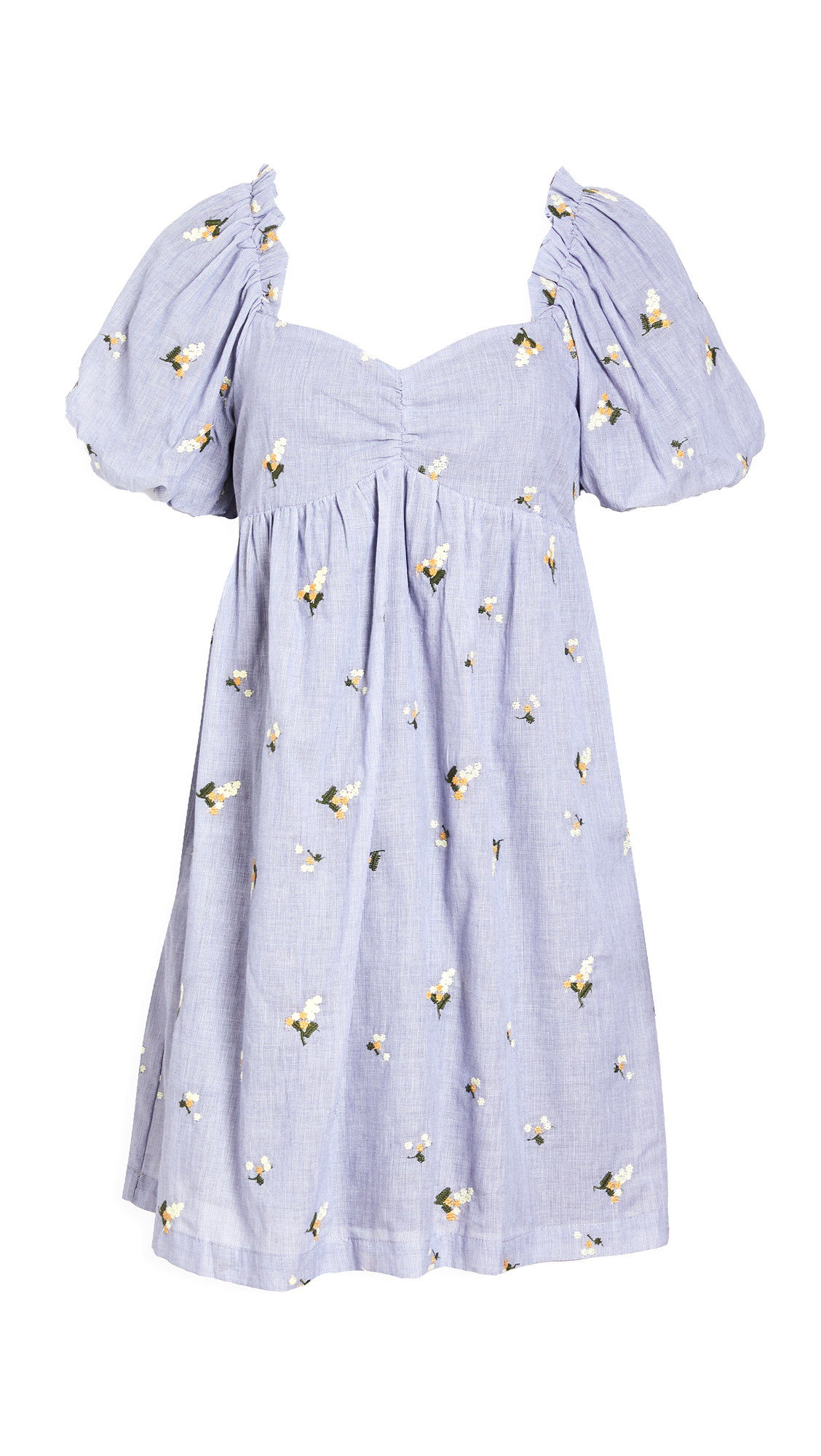 English Factory FLORAL-EMBROIDERED BABYDOLL DRESS