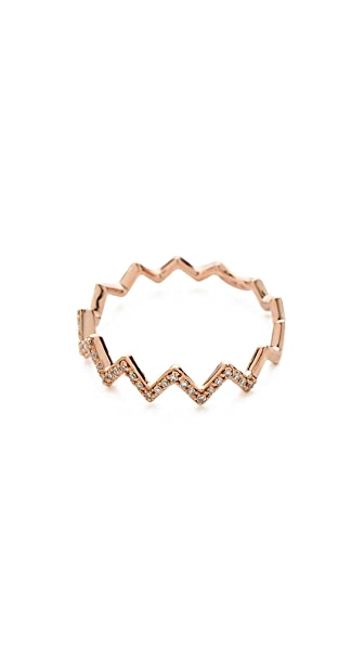 EF Collection 14 Gold Pave Diamond Zigzag Stack Rings - Rose Gold/Clear