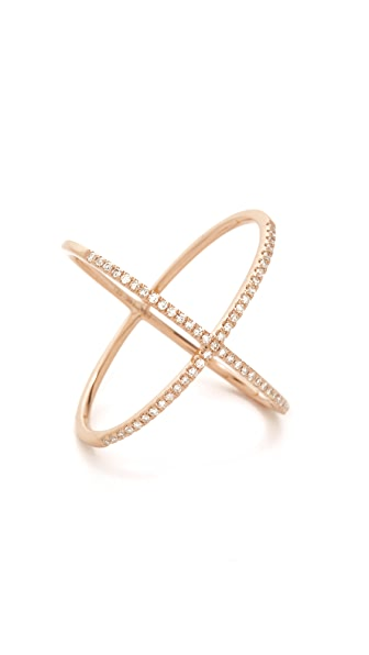 EF Collection 14k Gold Pave Rose Gold Diamond X Ring - Rose Gold/Clear