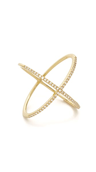 EF Collection 14k Gold Pave Gold Diamond X Ring - Yellow Gold/Clear