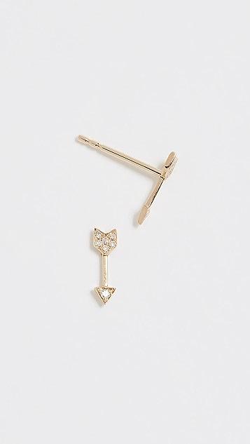 EF Collection 14k Gold Diamond Mini Arrow Stud Earrings