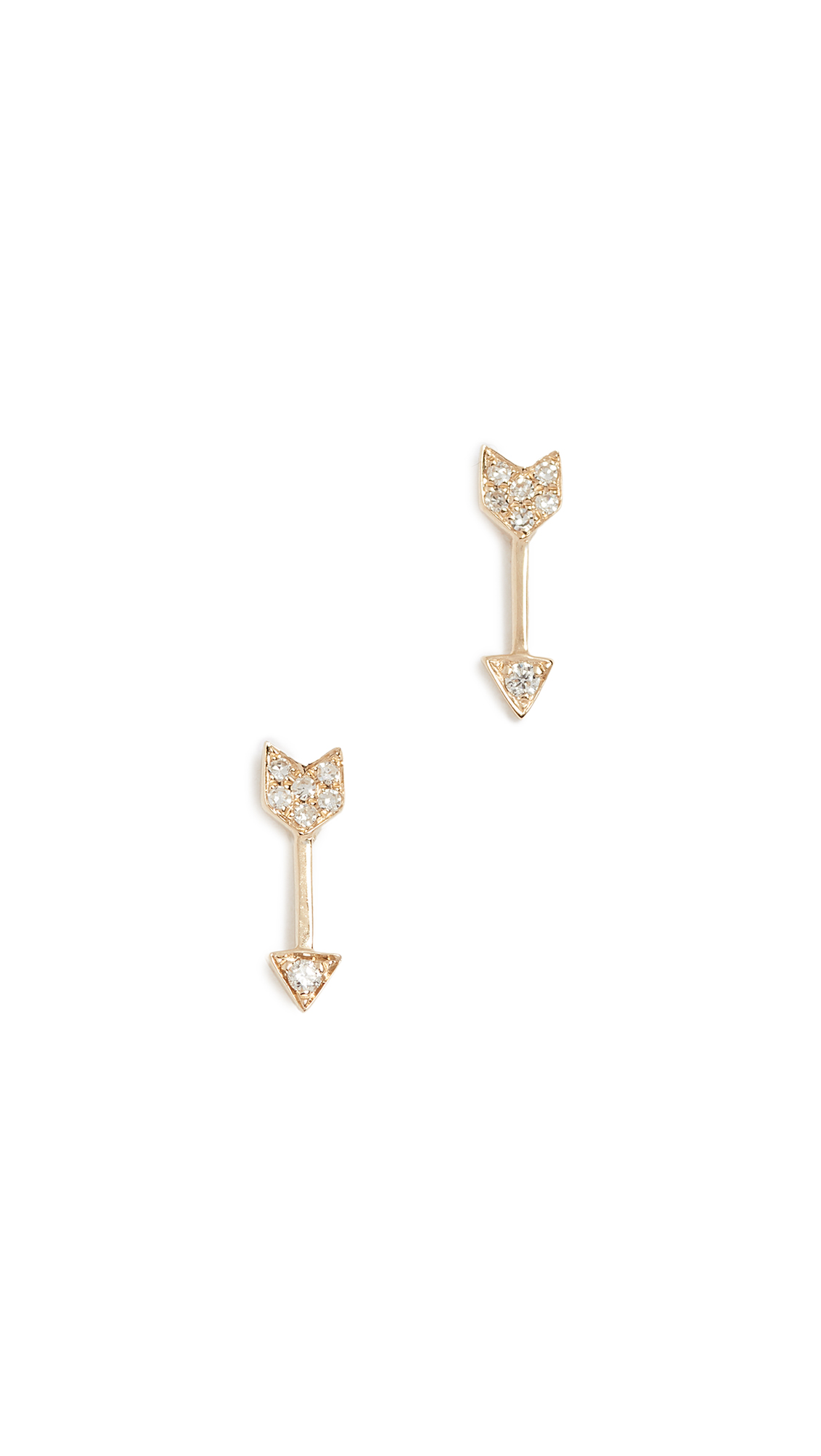 EF Collection 14k Gold Diamond Mini Arrow Stud Earrings - Yellow Gold/Clear