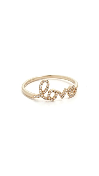 EF Collection Diamond Love Ring - Yellow Gold/Clear