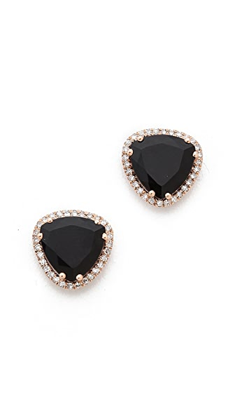 EF Collection Diamond Stone Slice Stud Earrings In Black Onyx