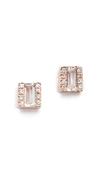 EF Collection Diamond White Topaz Brick Stud Earrings