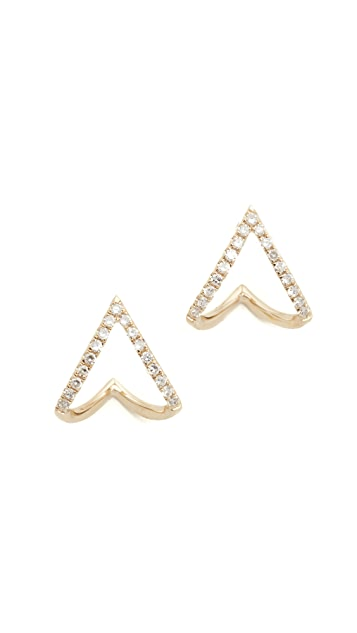 EF Collection 14k Gold Diamond Mini Chevron Wrap Stud Earrings