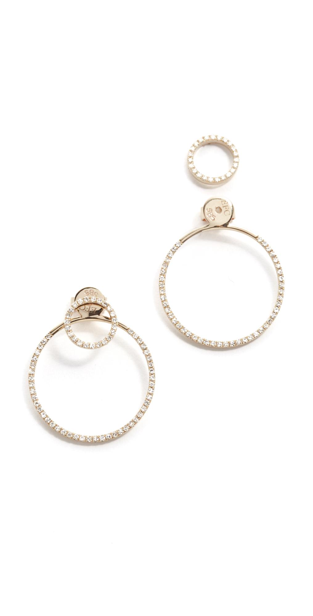 14k Gold Diamond Halo Ear Jacket EF Collection