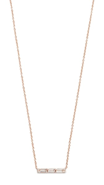 EF Collection 14k Gold Diamond White Topaz Mini Bar Necklace