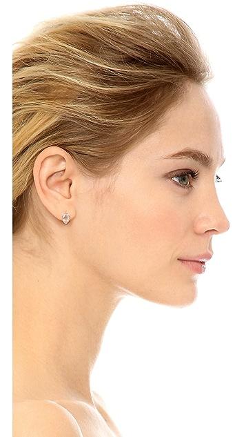 EF Collection Diamond & White Topaz Teardrop Stud 14k Gold Earrings