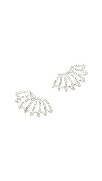 EF Collection 14k White Gold Diamond Double Multi Huggie Earrings