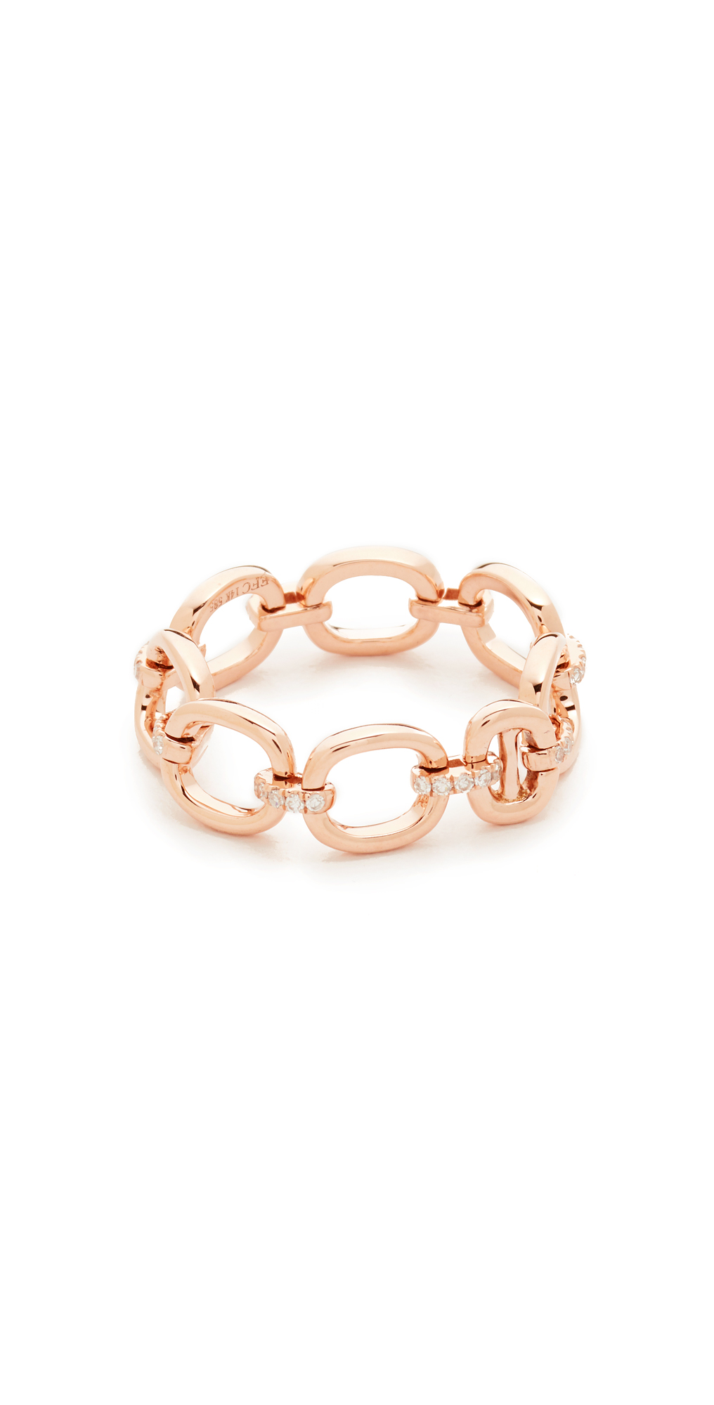 14k Rose Gold Partial Diamond Chain Link Ring EF Collection