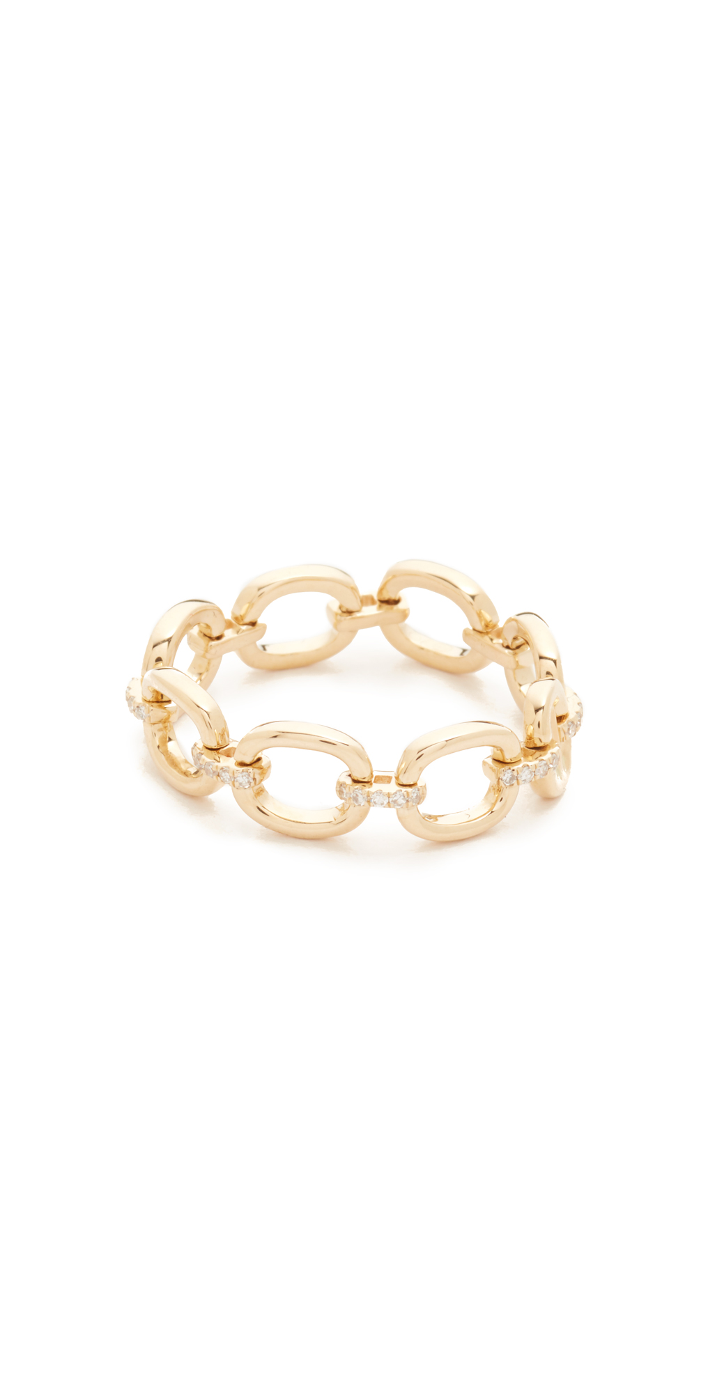 14k Gold Partial Diamond Chain Link Ring EF Collection
