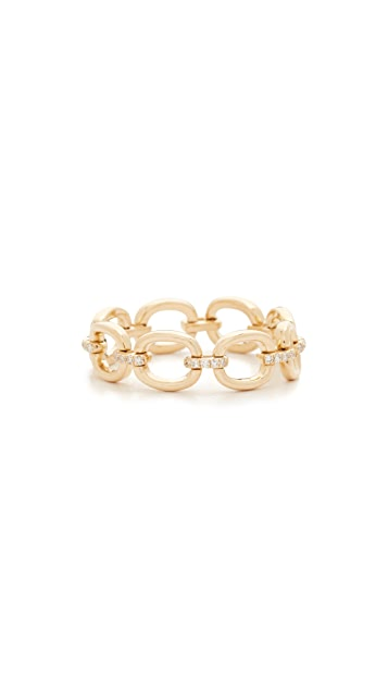 EF Collection 14k Gold Partial Diamond Chain Link Ring