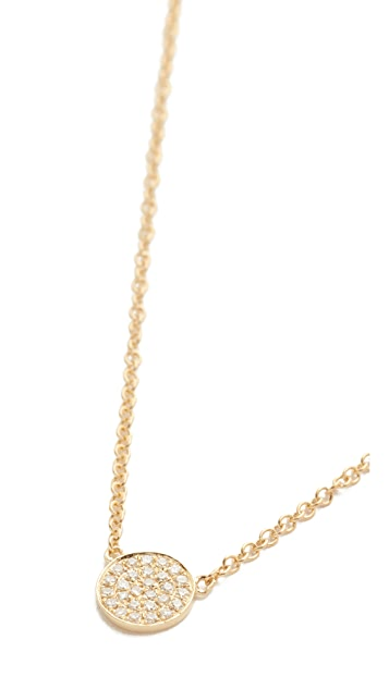 EF Collection Diamond Mini Disc Necklace