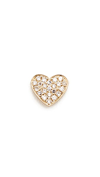 EF Collection Diamond Heart Single Stud Earring