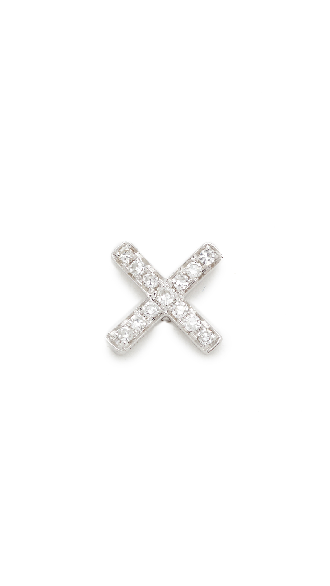 EF Collection Diamond X Single Stud Earring - White Gold