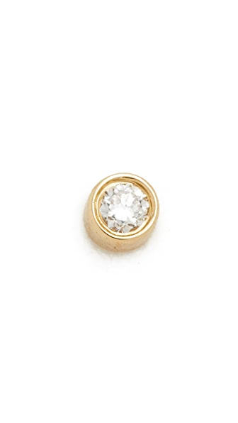EF Collection Diamond Bezel Single Stud Earring - Gold