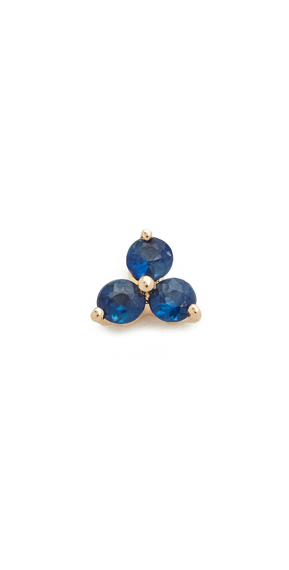 Blue Sapphire Trio Single Stud Earring EF Collection