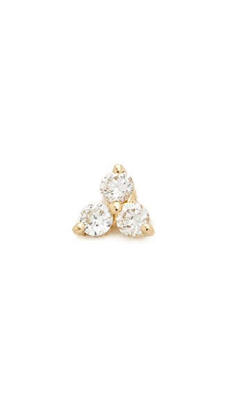 EF Collection Diamond Trio Single Stud Earring - Gold