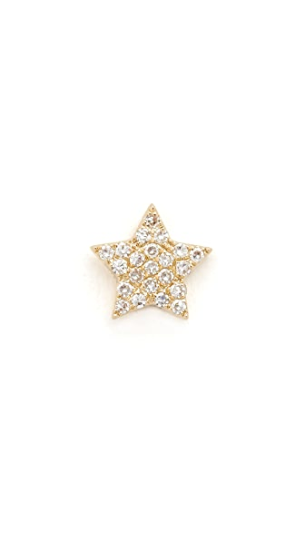 EF Collection Diamond Star Single Stud Earring - Gold